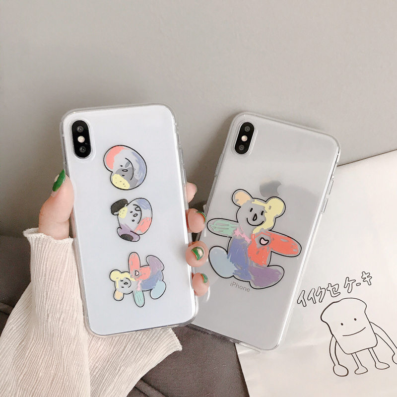 Graffiti bear silicone cover funda for iphone 7 8 6 6s plus puppy bear transparent coque on for iphone x xr xs max 10 7plus capa in Fitted Cases from Cellphones Telecommunications