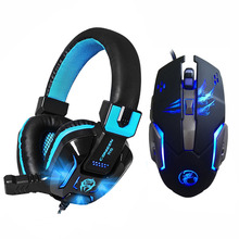 High Quality LED Light Gaming Headphone with Earphone Microphones Headset 6 Buttons 3200 DPI Super Professional Gaming Mouse