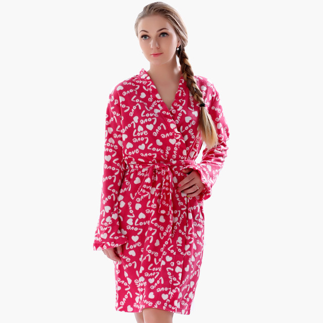 2016 Spring Autumn Ladies Plus Size Soft Fleece Red Robe Love Lingerie Dressing Gown Kimono Sleepwear Bathrobe For Women