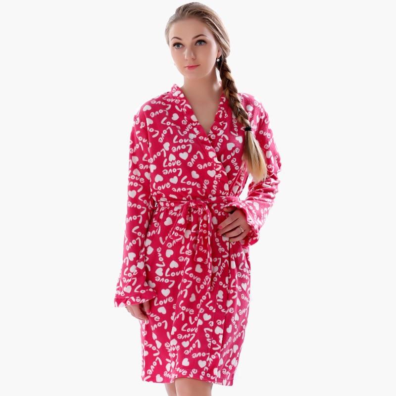 Գարնանային աշնանային տիկնայք Plus Size Soft Fleece Red Robe Lingerie Dressing Gown Kimono Sleepwear Bathrob կանանց համար