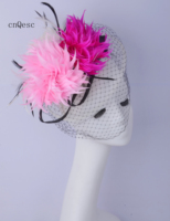 2019 Ivory pink fuchsia Women derby hat feather headband Sinamay fascinator hat for Races.