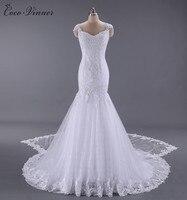 CV vestido de noiva Sin Respaldo Apliques Ata Para Arriba Detrás vestido de Novia Vestido de Novia Con el Tren Desmontable vestido noiva Memaid W0012