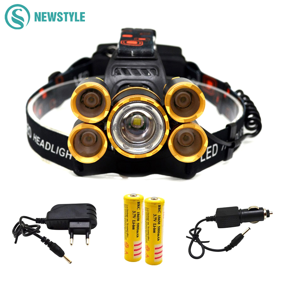 T6+XPE LED Head Lamp 16000lm Zoomable 5leds Headlight Tube Torch LED Flashlight+Car Charger+18650 Batteries for Outdoor Lighting u king zq g008 xpe q5 18650 800lm zoomable led flashlight