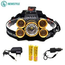 T6 + xpe светодиодный налобный фонарь 16000lm масштабируемой фары 5 светодиодов фар трубки факел светодиодный фонарик + Автомобильное Зарядное ус...