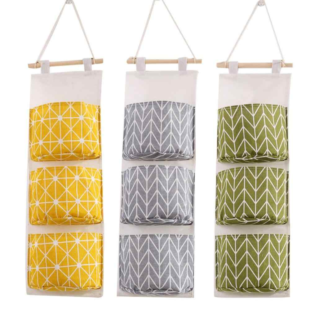 Cotton Linen Multi-Layers Wall Hanging Storage Bag Wall Mounted Wardrobe Closet Hang Bag Sundries Cosmetics Toy Organizer