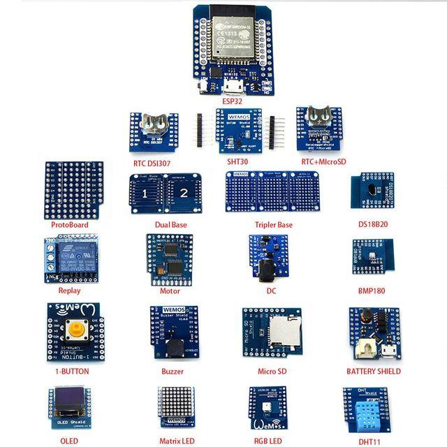 20 EN 1 KITS TTGO MINI D1 ESP32 rev1 WiFi + Bluetooth learning kit and MINI D1(OLED buzzer micro SD BMP180 WS18B20 1-button..)
