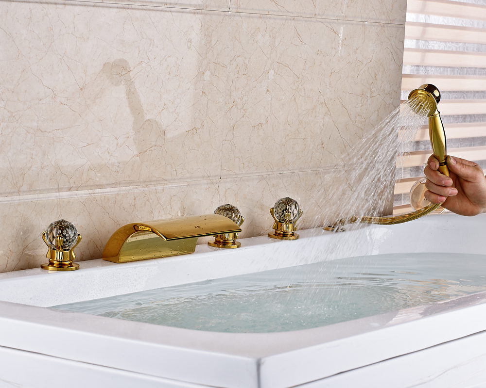 Gold polished bathroom tub faucet three crystal handles - Gold bathroom faucets with crystal handles ...