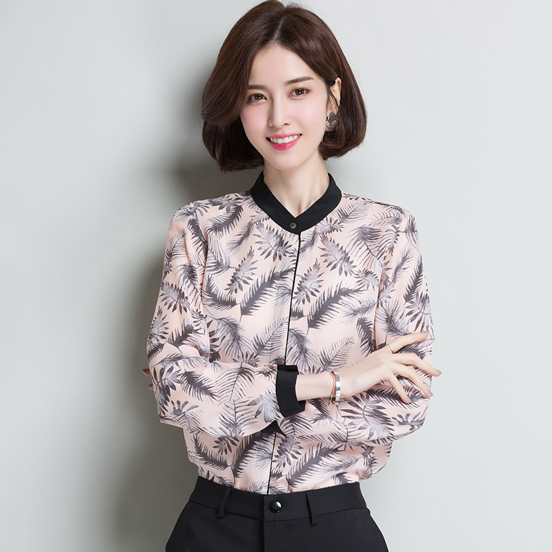 2XL marque 100% chemise en soie 2019 printemps été femmes Blouses nouveau contraste imprimé o-cou Blouses en soie OL chemise en soie hauts femme