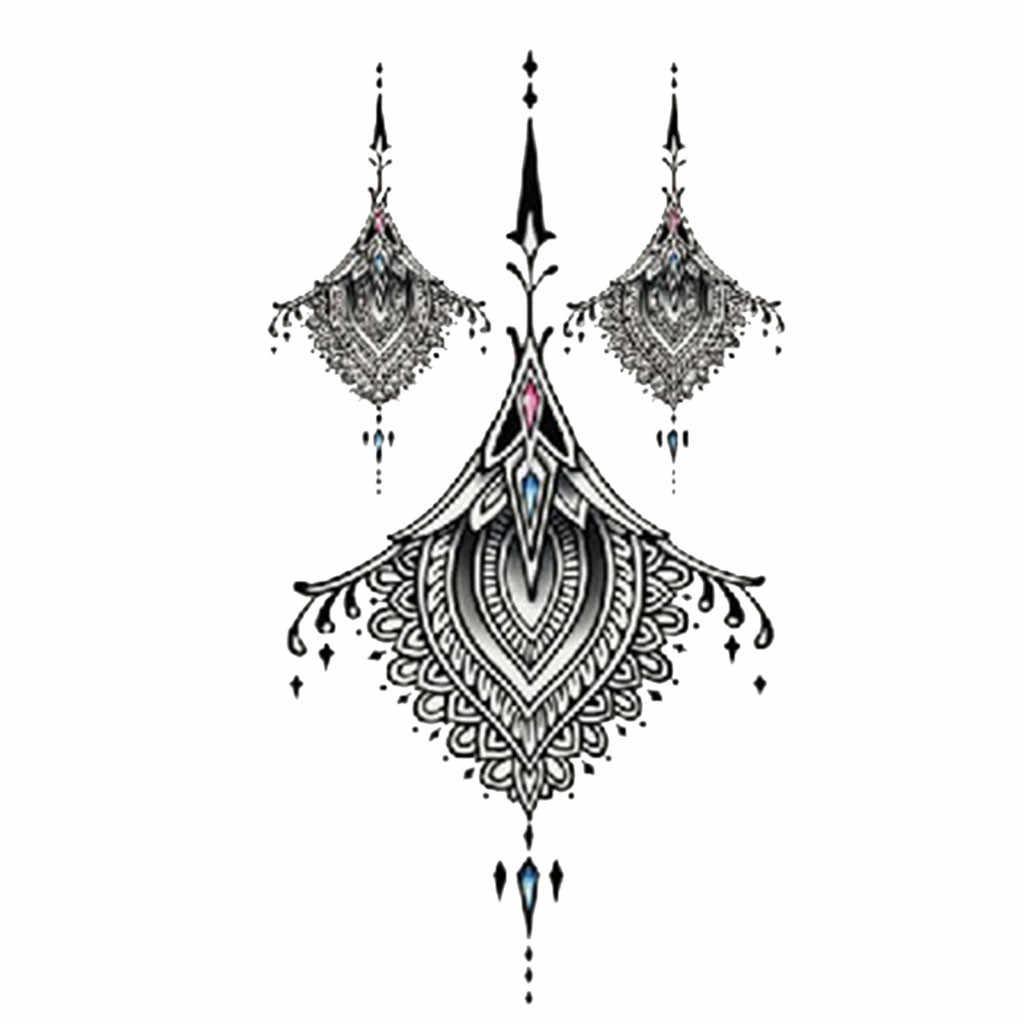 Moda preta clássica à prova dwaterproof água tatuagem temporária etiqueta mulher sexo flash falso tatoo henna flor flor vermelha árvore l58