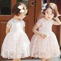 новая летняя модель 2015, кружевное платье для девочек с коротким рукавом и круглым вырезом горловины, украшенное цветочными кружевами
