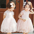 2016 Summer New Arrival Girl's Short Sleeve Lace Children Clothing O-neck Solid Embellished Floral Lace Lolita Style Kids Dress
