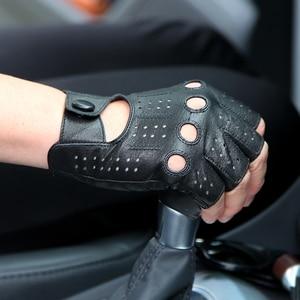Image 2 - 2018 The Latest High Quality Semi Finger Genuine Leather Gloves MenS Thin Section Driving Fingerless Sheepskin Gloves M046P 5