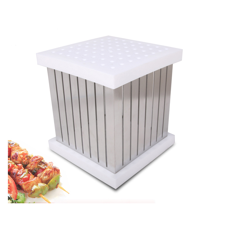 ITOP BBQ Grill Accessories Tools 64 Holes Kebab Maker Box Barbecue Accessories Stainless Steel Meat Vegetables Cutter Machine 1pc hot sale 100%quality guaranteed doner kebab slicer two blades electrical kebab knife kebab shawarma gyros cutter