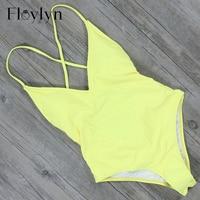 Floylyn Sexy Backless One Piece Swimsuit Trajes De Bano Bandage Women Summer Swimwear Beach Wear High