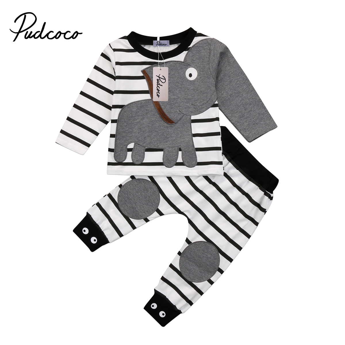 Pudcoco Cotton Newborn Kids Baby Boy Girl Elephant Striped Clothing Set Long Sleeve Tops T-shirt+Pants 2pcs Outfits kids baby boy long sleeve gentleman t shirt tops long pants 2pcs outfits clothing set hot