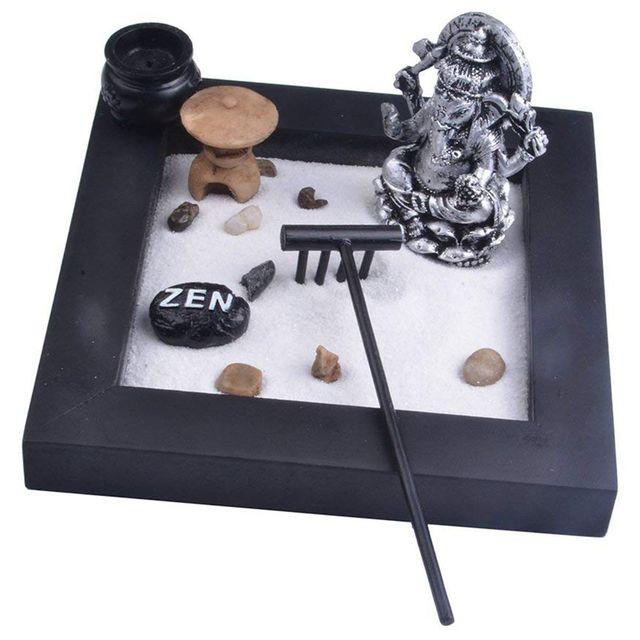 Japanese Karesansui Mini Zen Table Garden with Rack Pebbles and Sand Home Office Decoration, 16.4x16.4x2cm