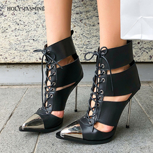 2019 Summer New Fashion Shoes Women Black Metal Pointed Toe Cut-out Stilettos Super High Hees Ankle Boots Lace-Up Women Shoes 2019 women fashion design pointed toe lace up gladiator boots cut out rope up high heel ankle boots western style street shoes