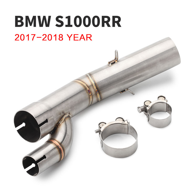 For BMW <font><b>S1000RR</b></font> Motorcycle Full System <font><b>Exhaust</b></font> Header <font><b>2017</b></font> <font><b>2018</b></font> Motorcycle Escape <font><b>Exhaust</b></font> Muffler Middle Link Pipe 51mm image