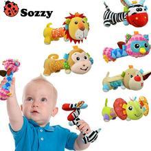 30pcs/lot  Sozzy Baby Rattles Mirror Plush Handbells Toys  Cartoon Animal  Mobiles Stuffed Infant Toddler Tinkle Hand Bell