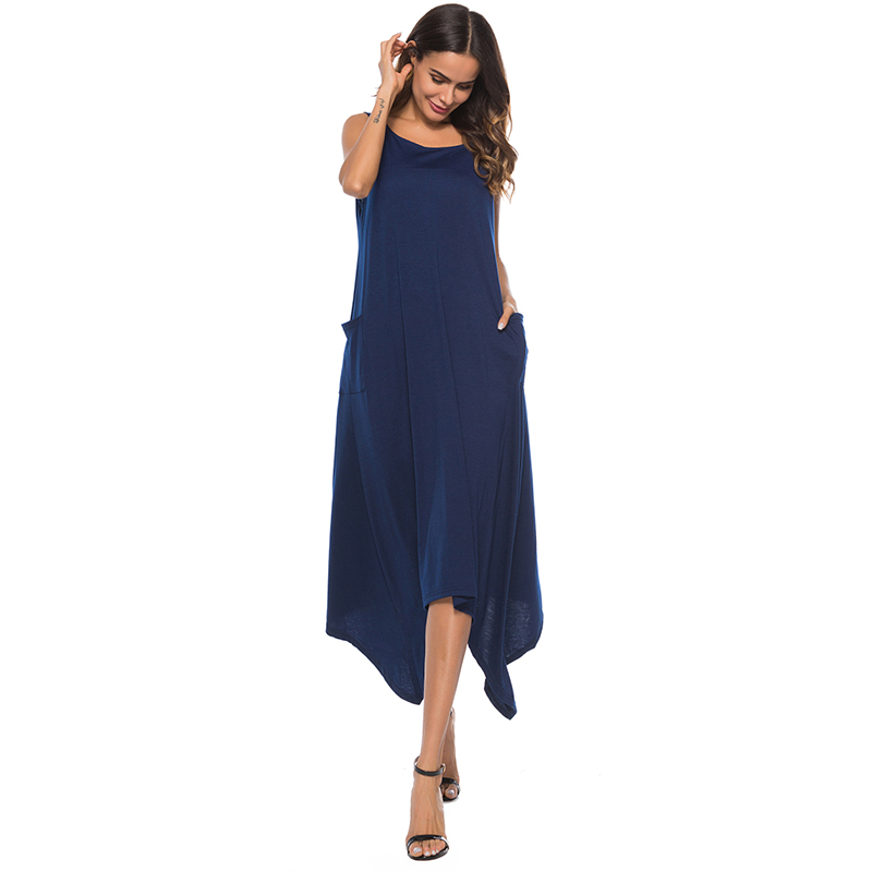 Fashion Women Summer Solid Dress Round Neck Sleeveless Pockets Asymmetric Hem Soft Holiday Beach Dresses Casual Loose Vestidos