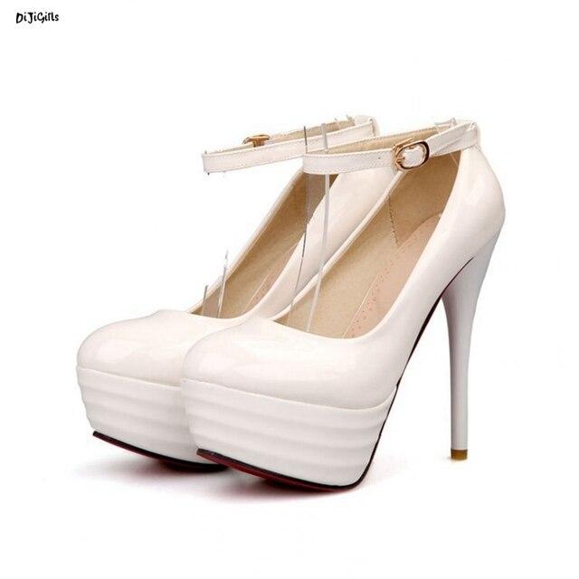31af5d8f548f Women Fashion Ankle Strap Platform Wedding Bridal Party Shoes Woman Sexy  High Heels Stiletto Pumps Plus