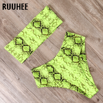 RUUHEE 2019 Bikini Swimwear Swimsuit Women Print High Waist Bikini Set Strapless Bandage Bathing Suit Female Beach Wear Biquini 1