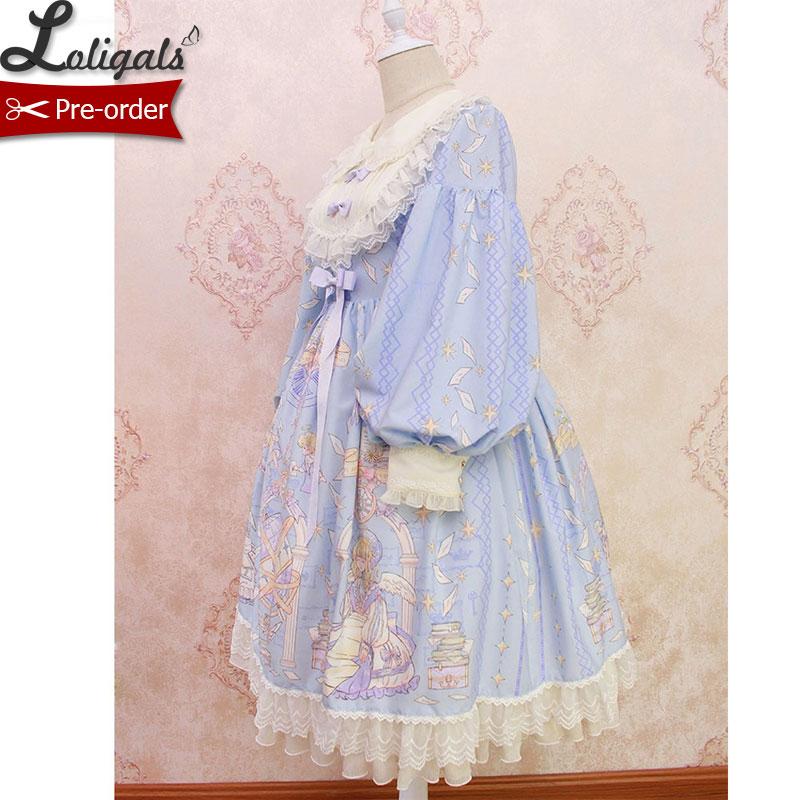Sweet Long Lantern Sleeve Midi Dress Angel s Book Printed Empire Waist Dress by Alice Girl