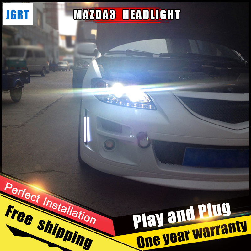 2PCS Car Style LED headlights for Mazda 3 2006-2012 for head lamp LED DRL Lens Double Beam H7 HID Xenon bi xenon lens hireno headlamp for 2012 2016 mazda cx 5 headlight headlight assembly led drl angel lens double beam hid xenon 2pcs