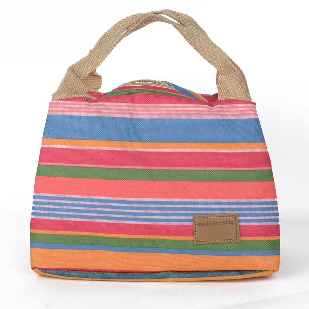 Stripe Lunch Bag Portable Cooler Bag Carry Case Travel Picnic Food Lunch box bag for Women Girls Kids MAYITR 5 colors