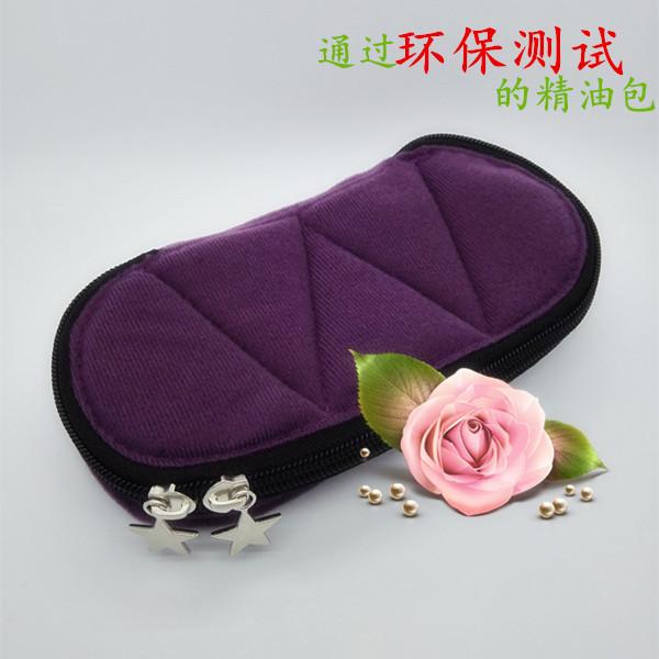 5-botella de aceite esencial de viaje bolsa de doble cremallera diseño caso de retención 5 ml 10 ml y 15 ml botellas-de color púrpura
