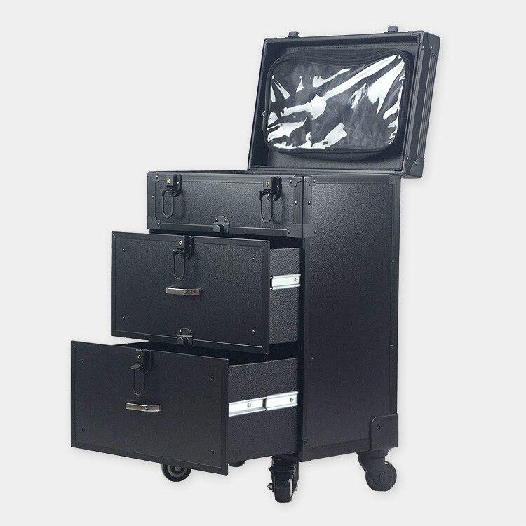 Deichseln rosa Mit Aluminium Universalräder Munsu up Pvc Schwarzes Make Ith Professionelle Schönheit Fall Box Trolley Rwq6Pgw