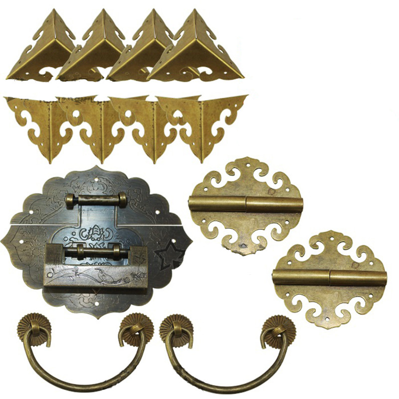 Chinese Brass Lock Set For Wooden Box,Vase Buckle Wooden Box Hasp Latch Lock+ Hinge+Corner+Handle,Bronze Tone