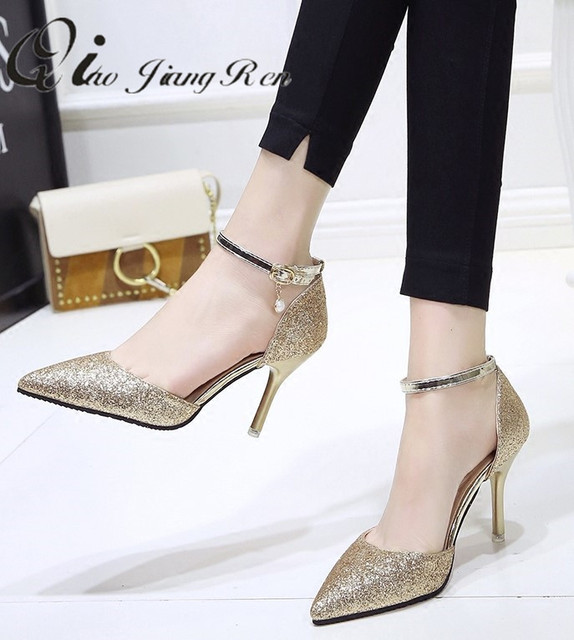 9497a63a601df Fashion buckle crystal pump women s elegant thin high heels point shoes  party wedding shoes women silver black sandals