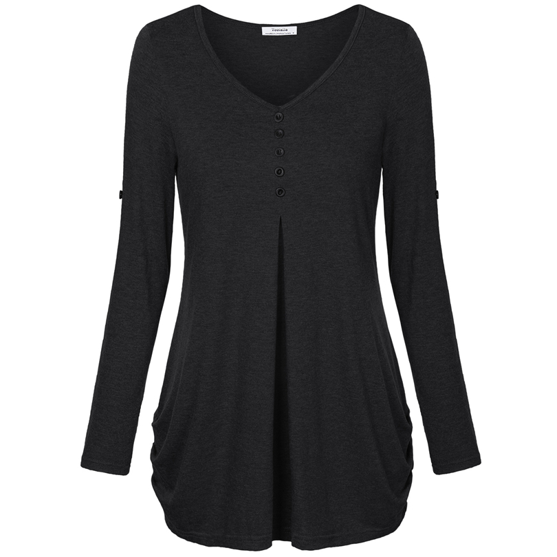 HTB14G iPFXXXXbHXFXXq6xXFXXXF - New Women Summer T-shirt Button Long Sleeve Female
