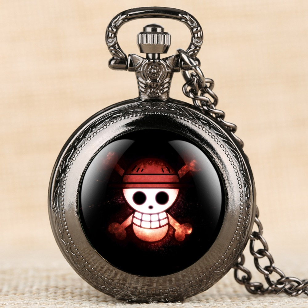 2019 Hot Sale Pocket Watch Creative Design Skull Pattern Watch Men Quartz Movement Alloy Case Arabic Digital Pocket Watch Men