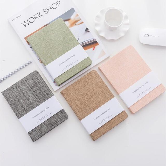 8a5db240cad9e Tela de Color puro Tapa dura diario en blanco coreano Vintage cuaderno de  papel conciso creativo