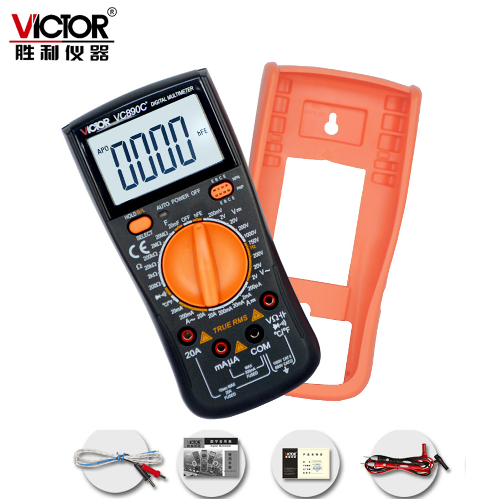 VICTOR VC890C + Digital Multimeter True RMS Multimeter <font><b>2000UF</b></font> Kondensator Temperatur Messung image