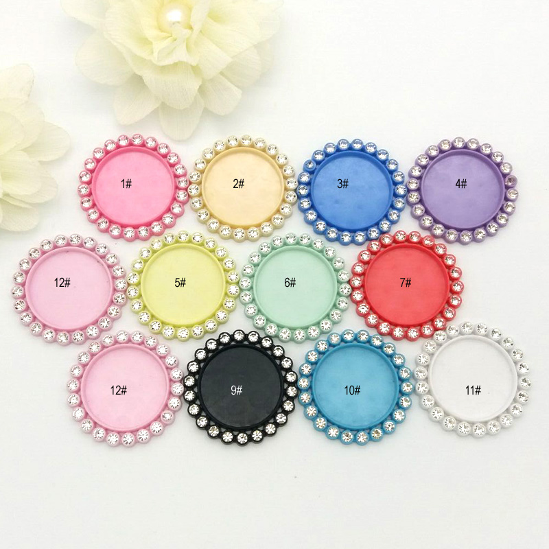 11colors inner 25MM Round rhinestone buttons tray cap setting flat back resin cameo frame mixed 100pcs can choose the color