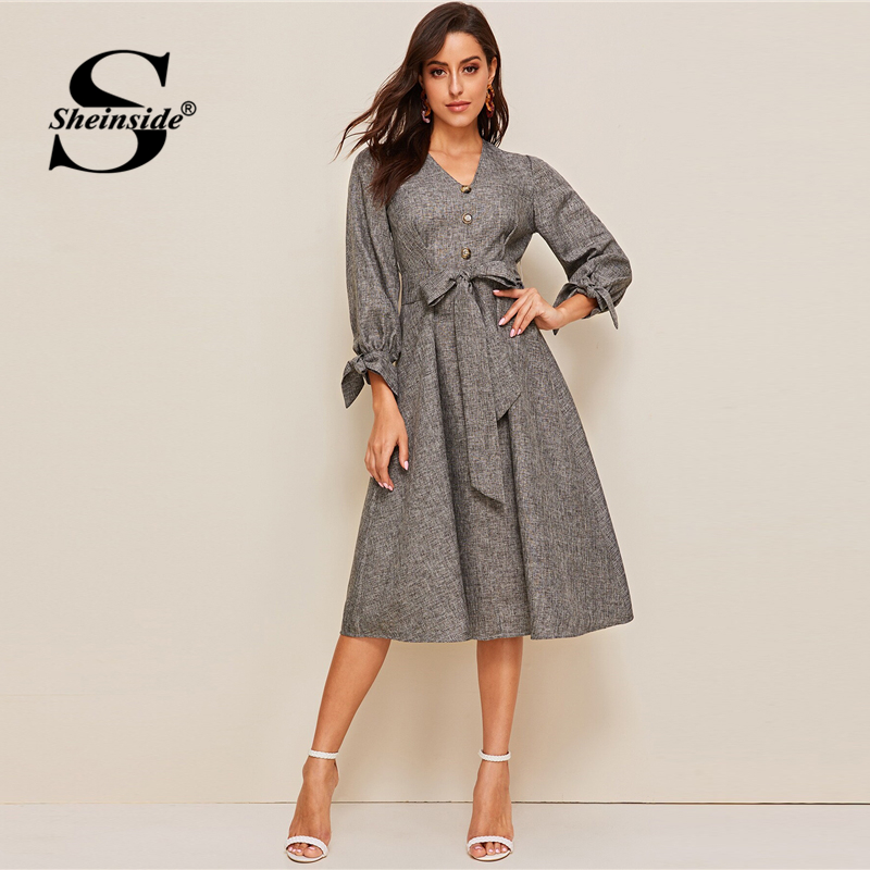 Sheinside Grey Elegant Front Button Detail A Line Dress 2019 Spring Lace Up Cuff Dresses Ladies Solid V neck Midi Dress-in Dresses from Women's Clothing