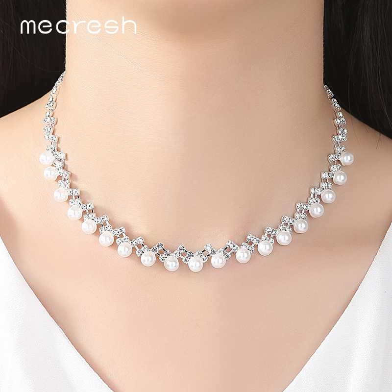 Mecresh Simple Simulated Pearl Bridal Jewelry Sets Silver Color Crystal Wedding Necklace Sets Jewelry Christmas Gift TL347+SL141