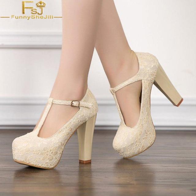 35a428160f42e3 FSJ Fashion 2018 Supperstar Flower Ivory Lace Heels T Strap Wedding Shoes  High Square Heel Pumps Platform Shoes Woman. 1 order