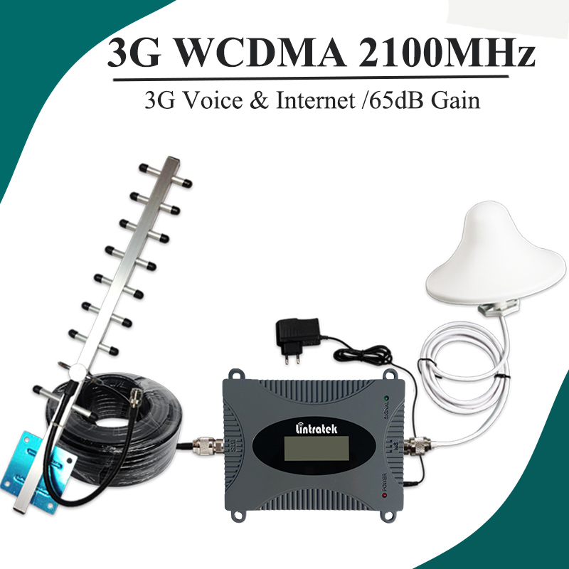 Lintratek LCD Display UMTS 2100 Cellular Signal Booster MINI Size Cell Phone 3G Repeater 65dB Gain Amplifier 3G Antenna Set #37