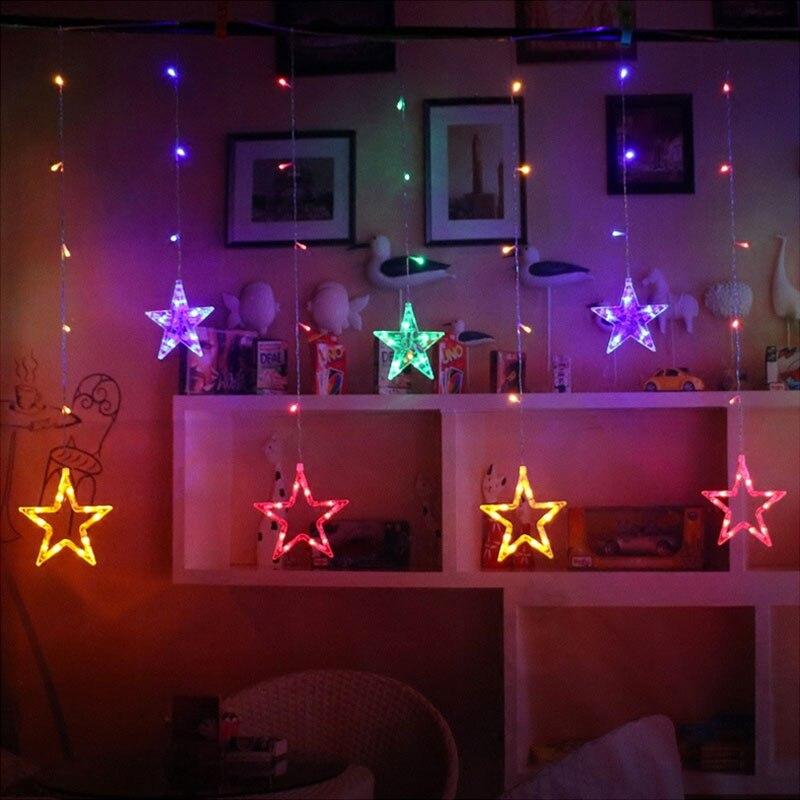 [Dbf] 2.5 м Романтический Фея Звезда привела Шторы свет шнура 138led ЕС Plug AC220V Рождественская гирлянда света для свадебная вечеринка праздничного ...