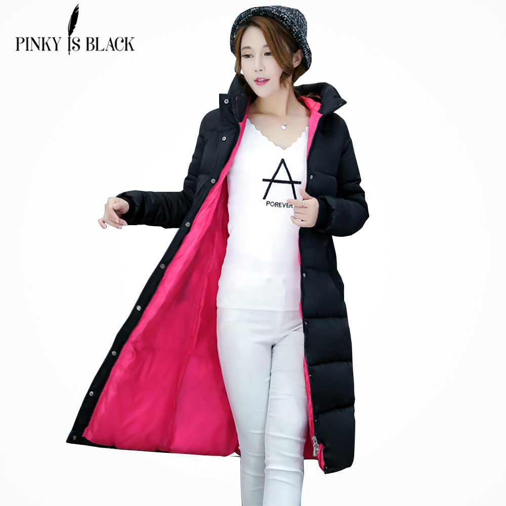 PinkyIsBlack 2019 new thicken wadded jacket outerwear winter jacket women coat long parkas cotton padded hooded jacket and coat-in Parkas from Women's Clothing