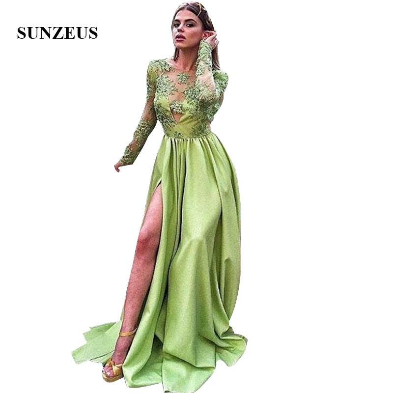 Lime Green   Prom     Dresses   With Long Sleeves Appliques Bodice Long Satin Party Gowns With Side Slit