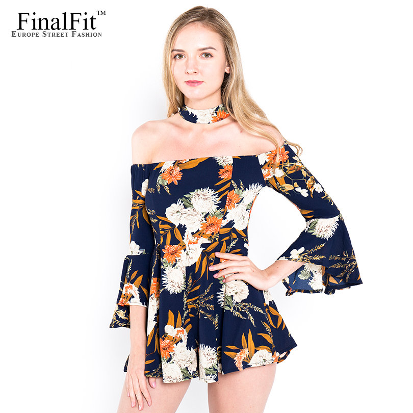 Off Shoulder Jumpsuit Women Floral Print Women Jumpsuit Romper
