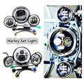 """7"""" Motorcycle LED Projector Daymaker Halo Headlight Passing Lights & 4.5"""" Halo led fog light lamp angle eyes For Harley Touring"""
