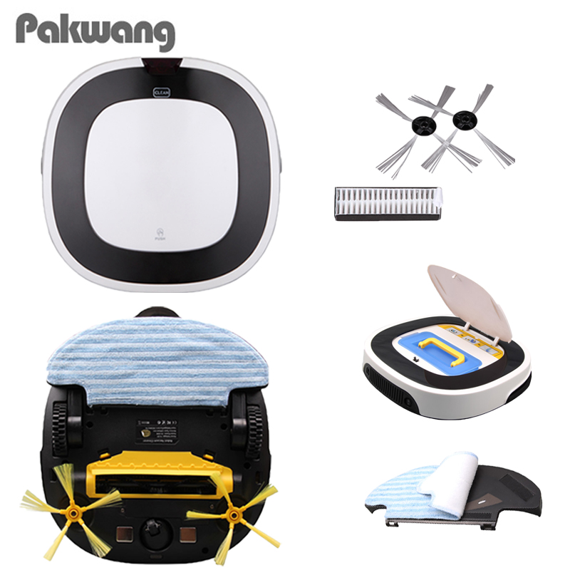 PAKWANG 2018 Smart D5501 Home Robot Vacuum Cleaner Wet And Dry Cleaning 180Ml Big Water Tank 2 Working 75 Minutes Washing Vacuum 2017 best 2in1 wet and dry smart vacuum cleaner fm01a selfcharge robot vacuum cleaner for home floor washing clean free shipping