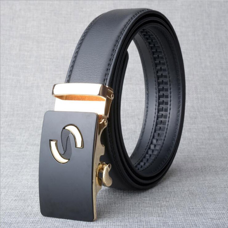 Gold Automatic Buckle Men Belt Casual Business Belt Leather Belts Jeans Strap Black Coffee Brown Quality Assuarance ZLB232