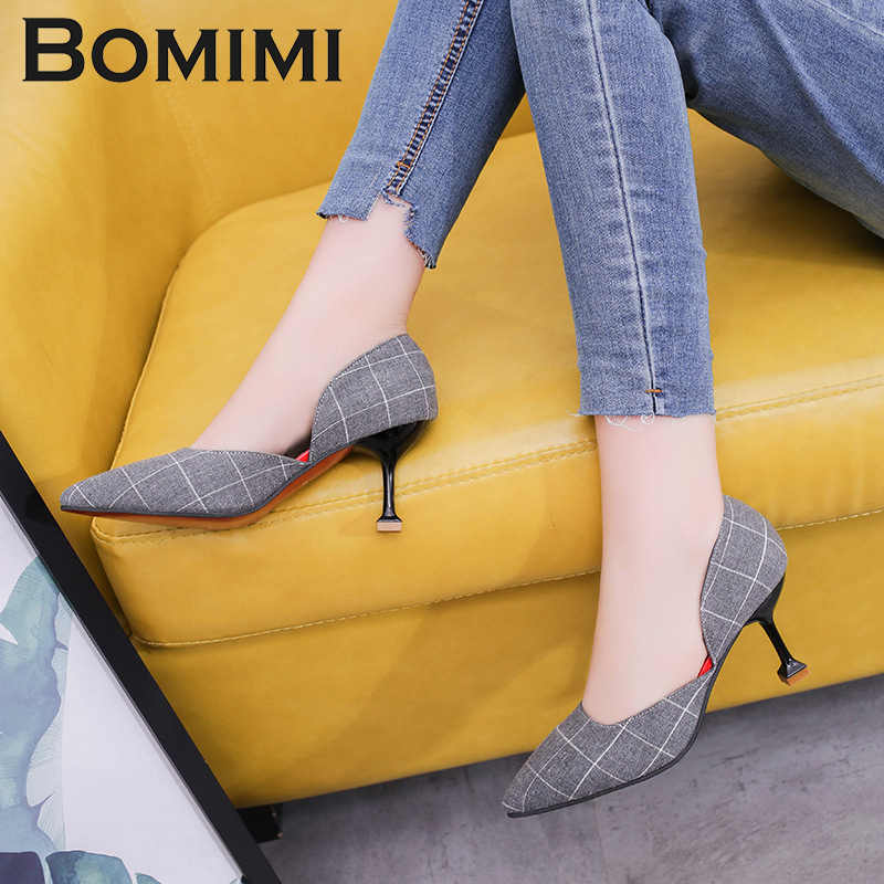 BOMIMI Women Pumps Basic Woman Leather Pumps High Heels Shallow Office Lady  Thin Heels Sexy Pointed fdf63eaba25